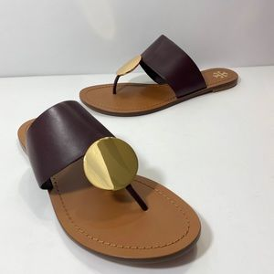 Tory Burch Patos Disk Sandal in Malbec/Gold
